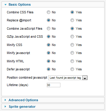 JCH Optimize Basic Options