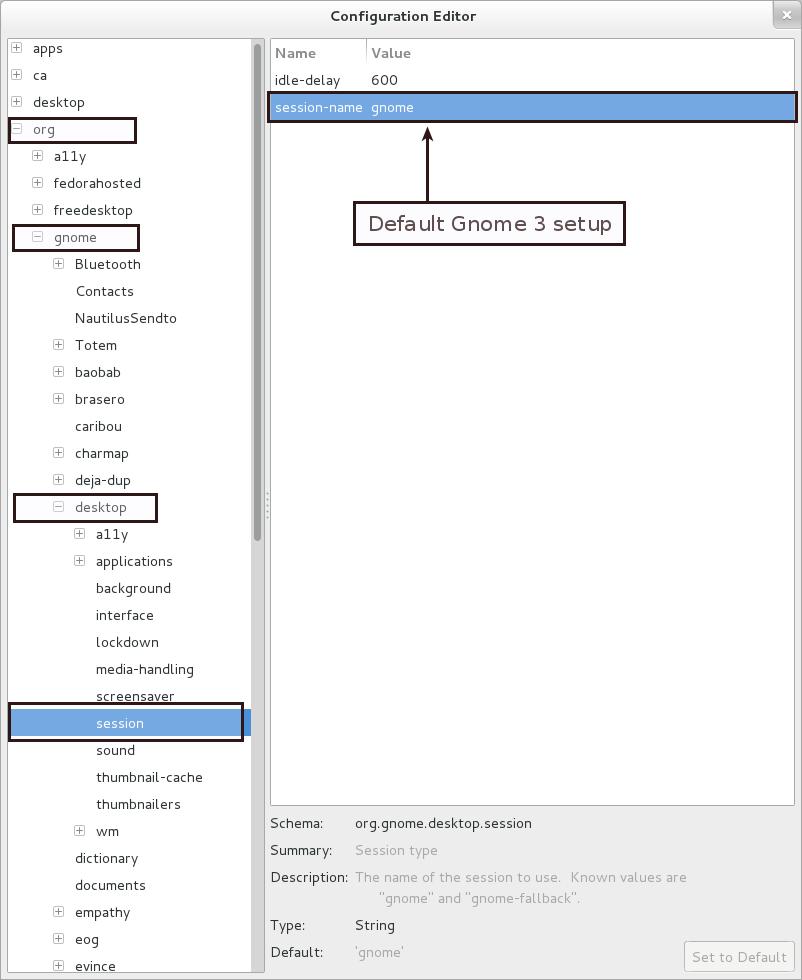 Gnome Classic on Fedora 17 dconf editor