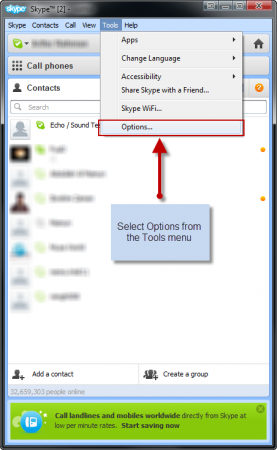 Select Options from the Tools menu