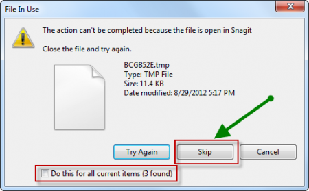 Skip the Undeletable files