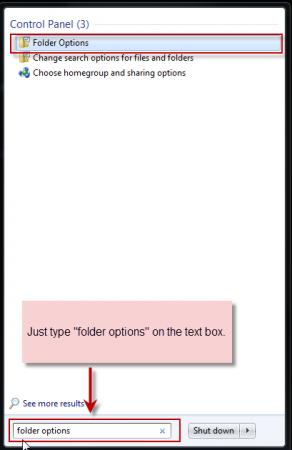 Windows 7 Folder Options via Start Menu