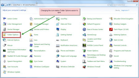 Windows 7 Folder Options via Control Panel