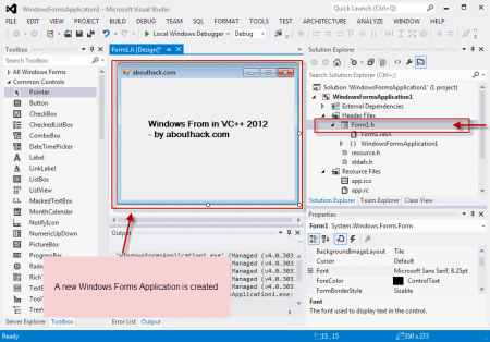 New Visual C++ 2012 Form Application Created