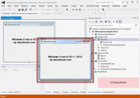 Visual C++ Form Application Running in Debug Mode