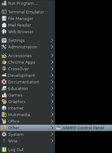 Xampp Control Panel Menu on Fedora